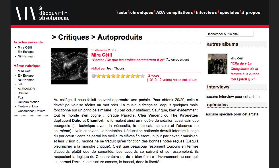 "Chonique de ""Persée"" par Jean Thooris (Webzine ADA)"