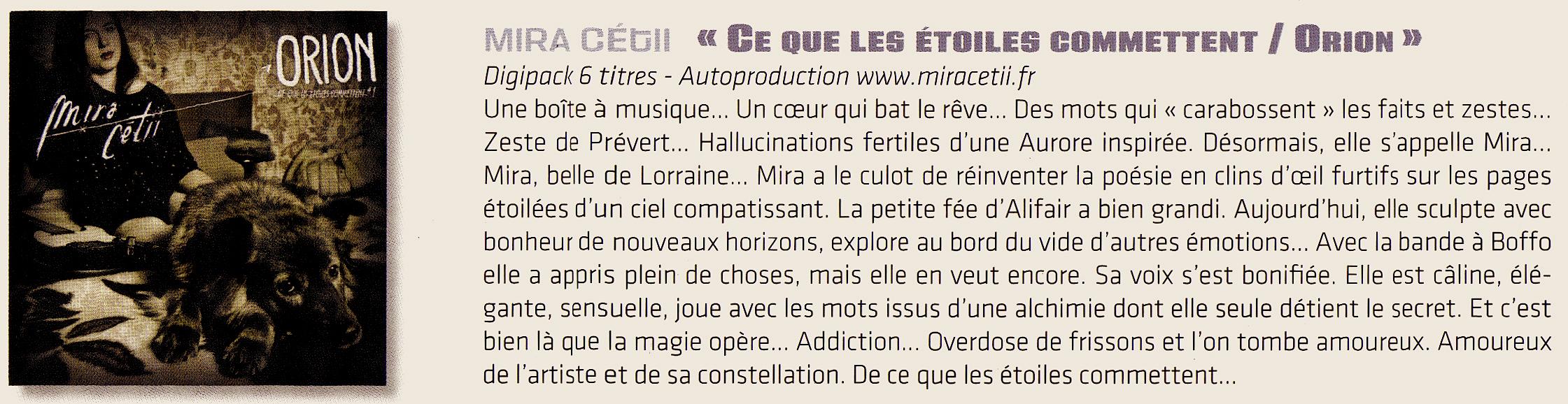 """Chronique de """"Orion"""" par Christian Décamps pour le """"Plouc Magazine"""""""