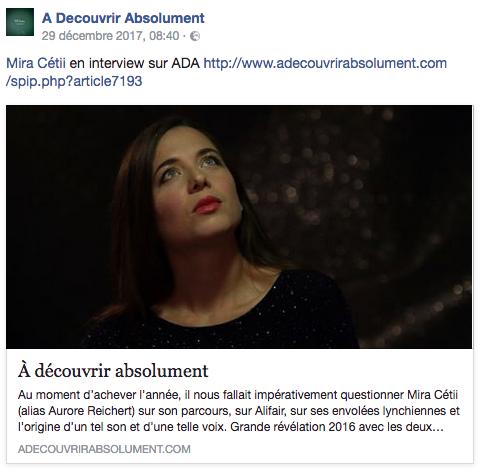 MiRA CÉTii est interviewée par Jean Thooris pour ADA !